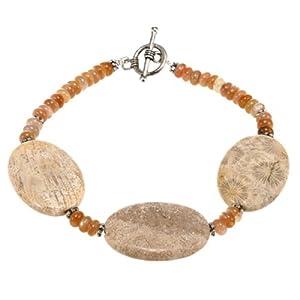 EXP Handmade Fossil Coral & Cat's Eye Bracelet