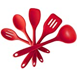 HOMEKE 5 Piece Silicone Kitchen Utensil Set In Solid Coating - Ladle, Spatula Turner, Mixing Spoon, Spatula Spoon...
