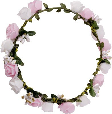 60% OFF on Sanjog Flower White Pink Gracious Tiara Crown Head Wrap For  Wedding Party Beach For Women Girls on Amazon  d7b28772107