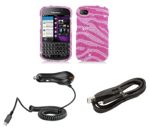 Blackberry Q10 - Premium Accessory Kit - Pink Zebra Stripes Diamond Bling Case + Atom Led Keychain Light + Micro Usb Cable + Car Charger
