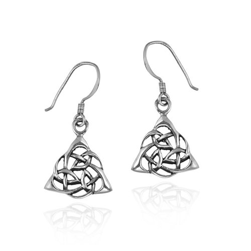 Sterling Silver Celtic Knot Triquetra Rose Dangle Earrings