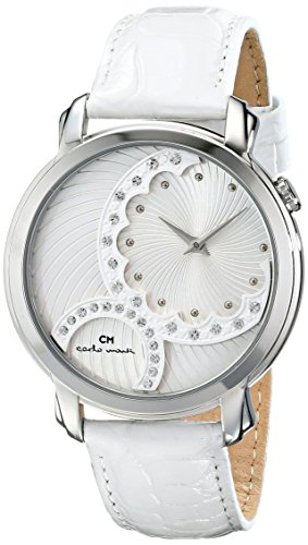Carlo Monti Women's Quartz Watch with Silver Dial Analogue Display and White Leather Bracelet CM802-186