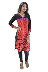 Lal Chhadi Women's Rayon 3/4 Sleeve Red Kurta
