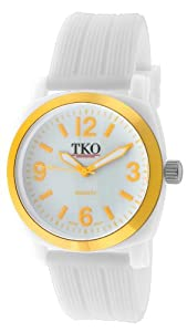 TKO ORLOGI Unisex TK560-YL Milano Jr. White Plastic Case and Textured Rubber Strap Watch
