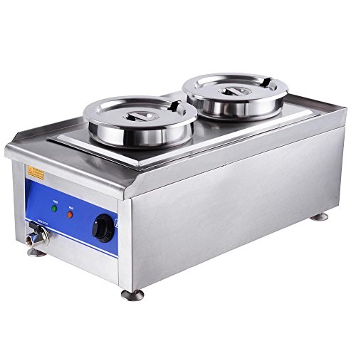 Yescom 1200W Commercial Dual Countertop Food Warmer Kitchen Steam Soup Station W/ 2 Pots Stainless Steel (Kitchen Service Table compare prices)