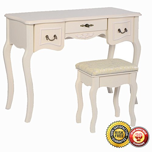 New Tri Folding Vintage White Vanity Makeup Dressing Table Set 5 Drawers &stool 1