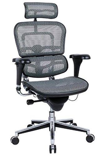 Ergohuman High Back Executive Chair with Headrest - Grey Mesh Seat and Grey Mesh Back - ME7ERG - Grey