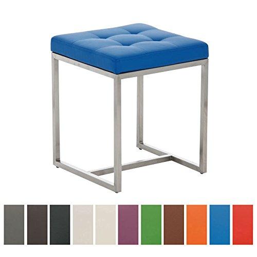 CLP-gepolsterter-Edelstahl-Sitz-Hocker-BARCI-40-x-40-cm-bis-zu-12-Farben-whbar-Sitzhhe-48-cm-blau