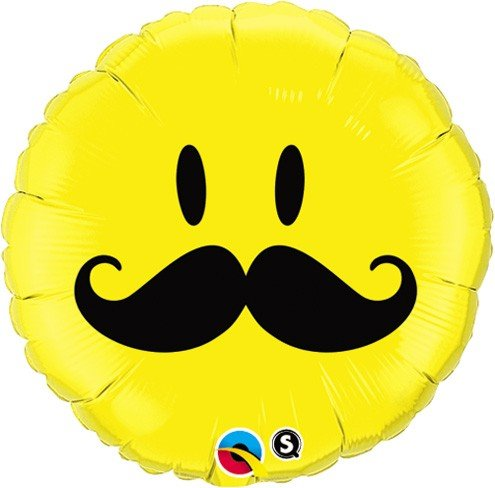 "Smiley Face Mustache Round 18"" Mylar Foil Balloon Birthday Party - 1"