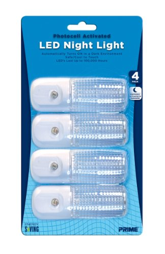 Prime Wire & Cable Nlae334P Automatic Night Light White Led, 4-Pack