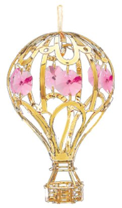 24k Gold Balloon Ornament – Pink Swarovski Crystal