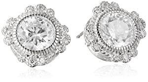 Sterling Silver Simulated Diamond Round 8mm Stud Earrings from PAJ, Inc