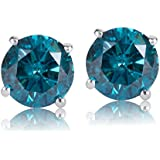 1/2 Carat Total Weight Blue Diamond Solitaire Stud Earrings Pair Set in 14k White Gold