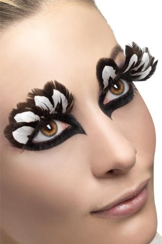 Fever Eyelashes Feather, Black/White, One Size