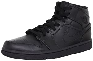 Nike Men's NIKE AIR JORDAN 1 MID BASKETBALL SHOES 7.5 Men US (BLACK/BLACK/BLACK)