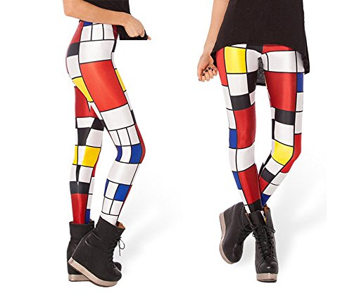 Women's Colorful Geometric Block Pattern Printed Spandex Skinny Leggings