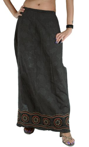 Women New Long Skirt Cotton Hand Embroidered Maxi Floral Design Elastic Black