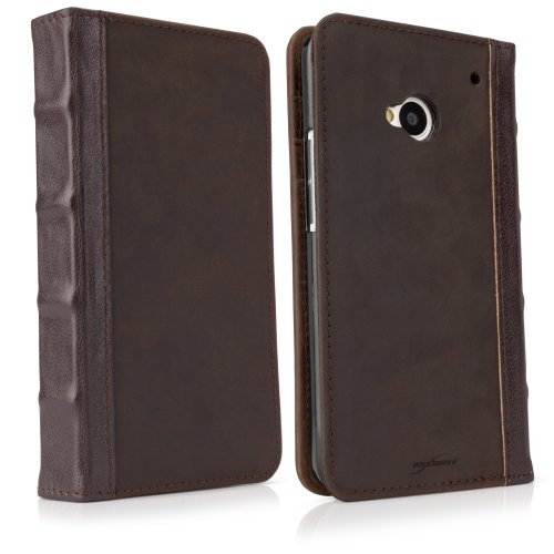 Buy BoxWave Classic Book HTC One Case - Vintage Book Cover Case, Genuine Leather Wallet Case Design with Card Slots and Premium Interior Design for HTC One