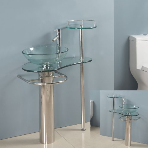 28 Inch Bathroom Vanities Pedestal Glass Sink Euro Design