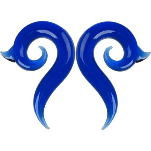 Pair of Glass Borneo Spirals: 000g Cobalt