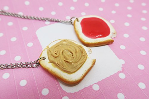 Bitten Peanut Butter Jelly Jam toast Friendship Necklaces or Keychains - food jewelry, bff jewelry, bff necklace, friendship necklace