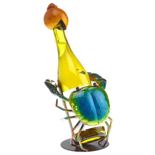 Deco Flair Blue Crab Figurine Metal Wine Bottle Holder