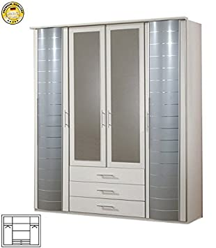 Kleiderschrank Schrank mit Spiegel 507468 weiß / silber 4-turig 180cm