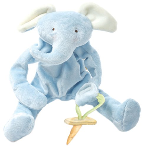 Bunnies By The Bay Peanut Silly Buddy Plush Toy, Blue Elephant with Pacifier Holder