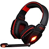 Forestfish(TM) G4000 3.5mm Stereo Gaming Headset LED Lighting Over Ear Headphone Headband with Mic Volume Control Noise Cancelling for PC Computer Game (Black + Red)