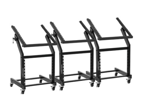 Ultimate Support JS-SRR100 Rolling Rack Stand - 12U-over-9U Rack on Casters - Angle-Adjustable for Convenience - 3 Pack