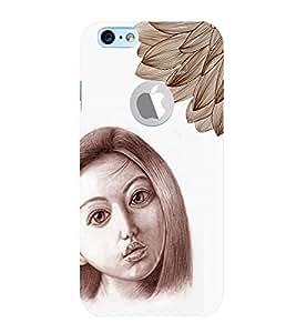 PrintVisa Stylish Cool Girl Sad Sketch 3D Hard Polycarbonate Designer Back Case Cover for Apple iPhone 6 Logo