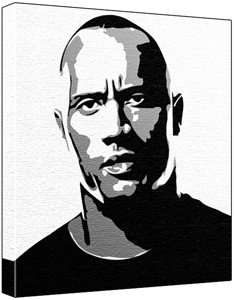 how to draw dwayne johnson portrait black and white