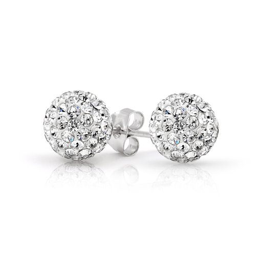 Bling Jewelry White Crystal Ball Stud Earrings Shamballa Inspired Sterling Silver