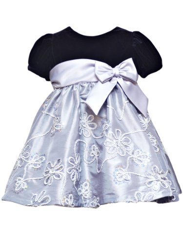 rare editions baby baby girls infant floral soutach dress silverblack 12
