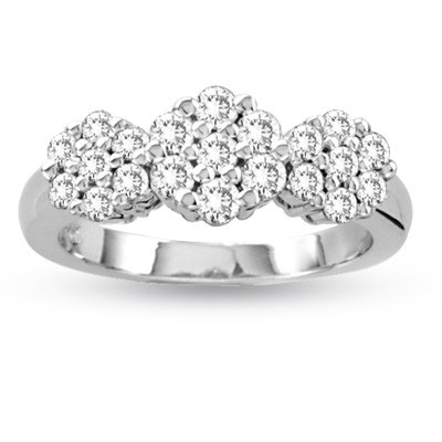 14K White Gold 0.75cttw Round Cluster Diamond Ring Size 8