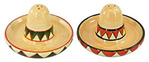 GIFTCO Ceramic Sombrero Hat Salt & Pepper Shakers by Giftco