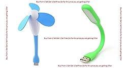 Insasta IN7123 Portable & Flexible USB Fan + LED Light Lamp For Laptop/ Desktop/ Powerbank(Pink:Blue:Green:Yellow)