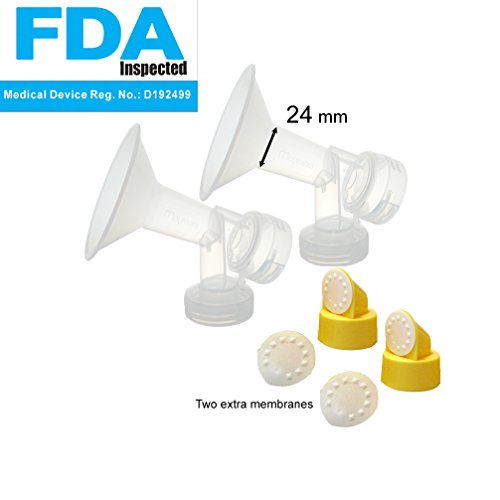 One-Piece Breastshield W/ Valve, Membrane For Medela Breast Pumps (Pump In Style, Lactina, Symphony), 24 Mm Standard Breastshields; Replacement Of Medela Personalfit Breastshield (Medium 24 Mm, Standard) & Personal Fit Connector; Can Be Used With Simple W front-760894