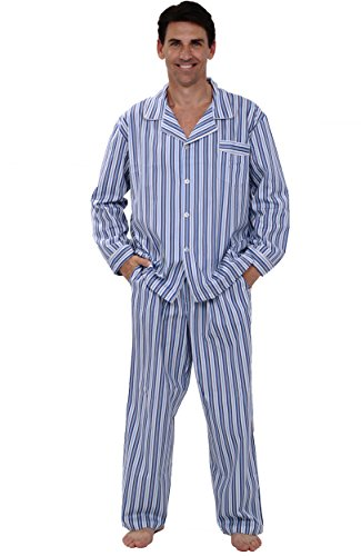 Del Rossa Men's 100% Cotton Woven Pajama Set, XL Dark Blue and White Striped (A0714P19XL)