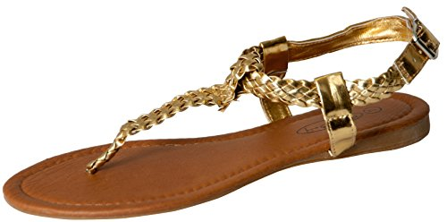 Women's T Strap Braided Sandals Shoes (9, Gold 2221)