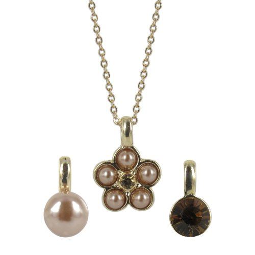 Mocha Simulated Pearl and Champagne Crystal Interchangeable Pendant Necklace, 18+3