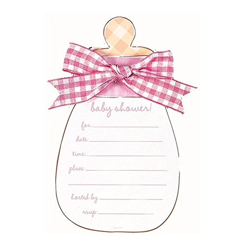 Pink Baby Bottle Baby Shower Invitations with Pink Envelopes - 8 Pack - 1