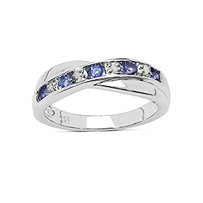 The Tanzanite Ring Collection: Beautiful Channel Set Tanzanite & Diamond Crossover Eternity Ring