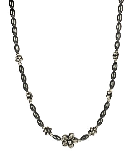 Sterling Silver Clasp with Magnetic Hematite Elliptical Bead and Antique Metal Alloy Flower Shape Bead Necklace, 18