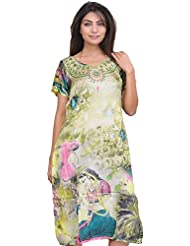 Exotic India Lily-Green Digital Printed Ragini Kurti - Green