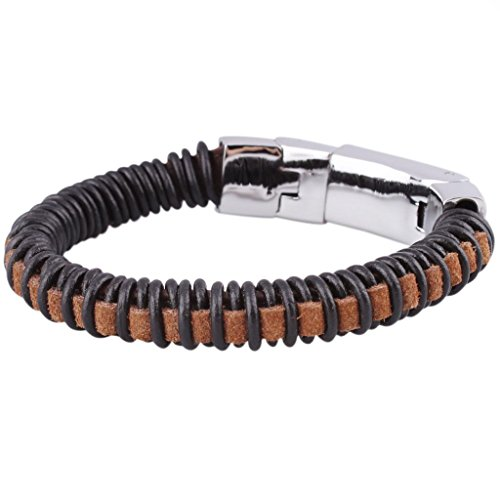 Adisaer Mens Bracelet Stainless Steel Leather Woven Bangle Black Brown Length 23CM Width 1CM