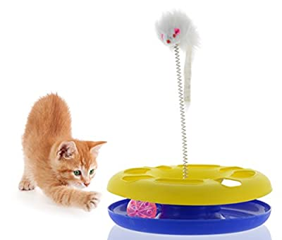 FUNNEST CAT TOY-Cat Toys Plus 2 toys in 1 interactive toy for cats with mouse shaped swatter and ball in track- great addition to cat trees and houses and bed- They'll meow with joy!