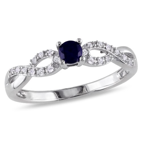 Sterling Silver 1/5ct TGW Created Blue Sapphire and Diamond Ring (.10 Cttw, G-H Color, I2-I3 Clarity)