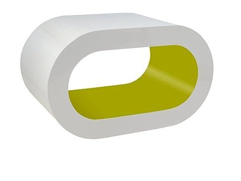 Bianco e Verde Lucido Cerchio Caffè Supporto da Tavolo / TV in Vari Formati
