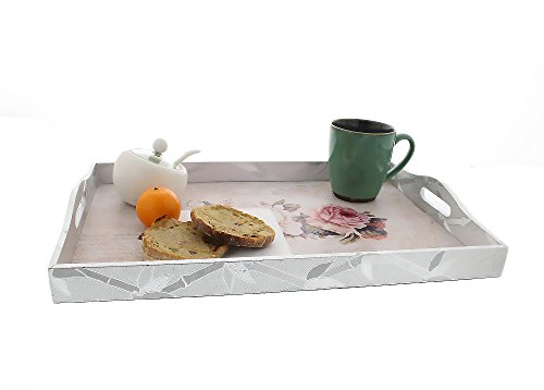 Set of 3 Floral Wooden Breakfast and Dinner Trays – Carrying Food Trays with Handles for Breakfast in Bed, Lunch, Dinner and More – Large Medium Small